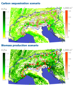These graphs show the first results for recharge.green from IIASA's BeWhere and G4M models, optimizing the location of bioenergy plants to maximize either carbon sequestration (top) or bioenergy production (bottom). The gradiant of green colors shows the amount of carbon storage over the landscape, while the red boxes (and according gradient in red) show the harvesting intensity in different harvesting areas.