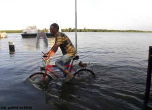 A cyclist rides along the flooded Danube River in Braila, Romania, in 2010. Credit: cod_gabriel on Flickr