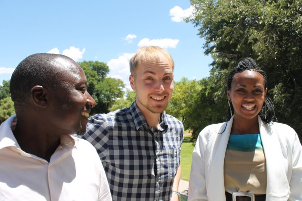 Lanoi Maloiy, right, with other participants in the 2013-14 Southern African Young Scientists Summer Program (SA-YSSP)