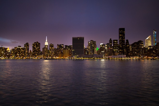 "The United Nation Headquarters complex in New York turns out their lights in observance of ""Earth Hour,"" in 2015. Credit: John Gillespie via Flickr"