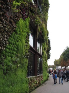 A green wall in Paris shows just one example of building innovations to help mitigate climate change. Credit: Mia Landauer 2013