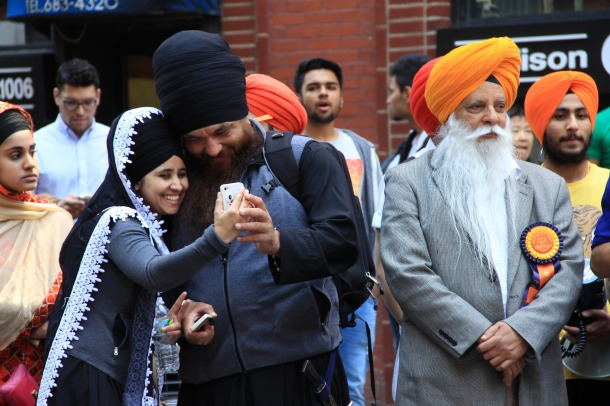 Sikh people gather at a parade in New York. The projections show shares of other religions in North America, including Buddhism, Islam, and Hinduism, increasing by 2060. Photo credit: Michela Simoncini via Flickr