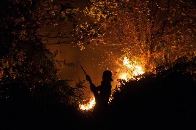 Firefighters outside Palangka Raya, Central Kalimantan, 15 October 2015.  Photo by Aulia Erlangga/ CIFOR